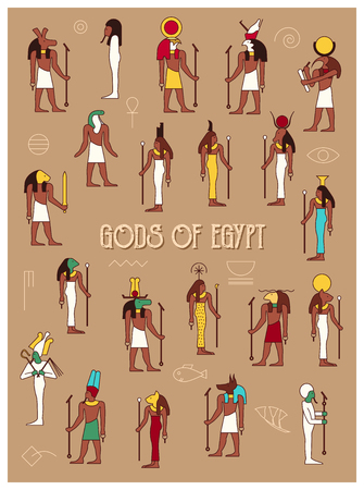 gods: Set of 21 ancient male and female Egypt gods drawn in classic Egyptian style