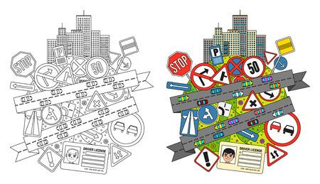 Bunte doodle Illustration auf Straßenverkehrsordnung und Verkehrszeichen mit einer Zusammensetzung von Verkehrszeichen, Stadt Gebäude und Straßen mit Autos Vektorgrafik