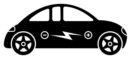 hybrid car: Icon with electric hybrid car with an electric power symbol inside Illustration