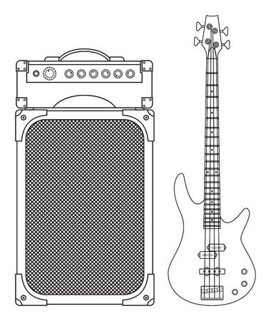 Rock elektrische bas gitaar en versterker voor concerten en festivals geschetst en in zwart-wit