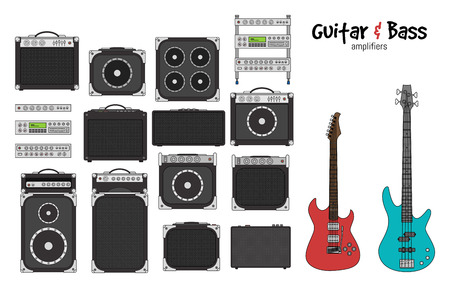 lead guitar: Set of amplifiers for rock electric guitars and bass guitars for concerts and festivals outlined and in black and white Illustration