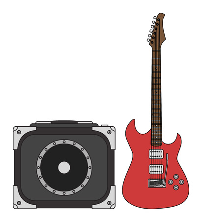 lead guitar: Rock electric guitar and amplifier for concerts and festivals in colors