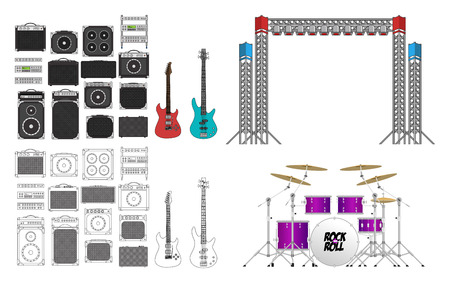 bass drum: Big festival or concerts stage equipment set, different amplifiers  in color and outlined, generic guitar, generic bass, set of light rigs and a big drum kit.