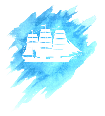 brigantine: Old sail ship on blue watercolor sea or ocean background