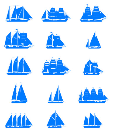 sailling: 15 isolated old sailling ships of various types and times