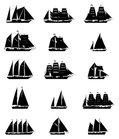 brigantine: 15 isolated old sailling ships of various types and times