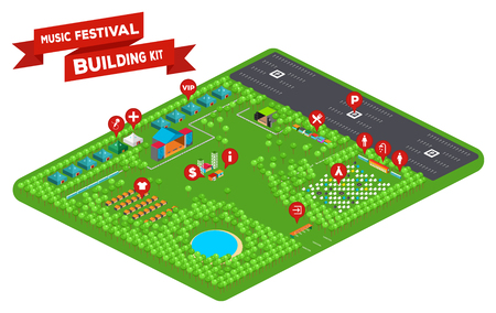 parking facilities: Huge set of everything you need to design your own music festival - stages, facilities, tent camp, trees, lake, fences, parking lot and so on