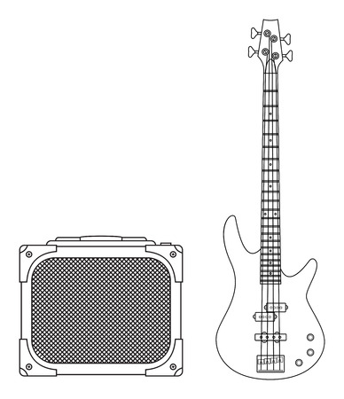 speaker box: Rock electric bass guitar and amplifier for concerts and festivals outlined and in black and white
