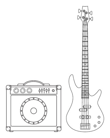 lead guitar: Rock electric bass guitar and amplifier for concerts and festivals outlined and in black and white