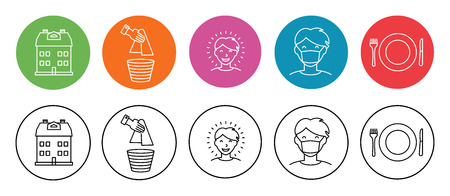 paper mask: Set of simple flat icons on home and hygiene man in hygiene mask, healthy and happy character, house, plate with fork and knife and paper towel