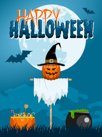 Classic Halloween design with a scarecrow, witch caldron, candies and bats flying at the full moon Illustration