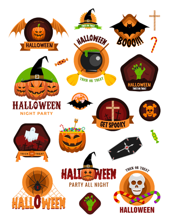 coffins: Set of Halloween celebration badges, labels with pumpkins, skulls, crosses, ghosts, zombies, coffins, bats and candies
