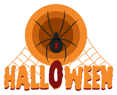 black widow: Halloween celebration badge, label with black widow spider and spider web isolated Illustration