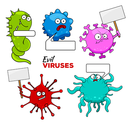 parasitic: Set of epidemic colorful evil viruses with tablets and bubbles isolated