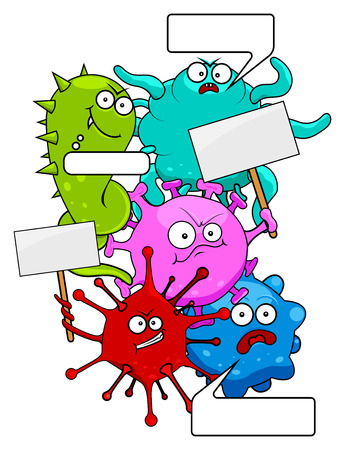 micro organism: Set of epidemic colorful evil viruses with tablets and bubbles isolated