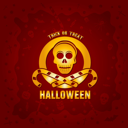 coffins: Beautiful Halloween background with golden skull and candies design and crosses, ghosts, zombies, coffins, bats and candies Illustration