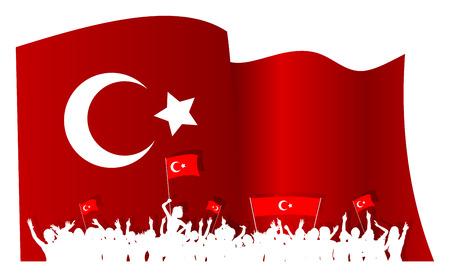 silhouettes Turquie d'applaudir ou de protester foule de gens avec des drapeaux et des bannières turques et un grand agitant un drapeau turc en arrière-plan.