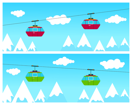 Cableway cabins going above winter time ski resort with people skiing, mountains and clouds