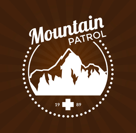 patrol: Vintage skiing resort or mountain patrol label, emblem with mountain and cross