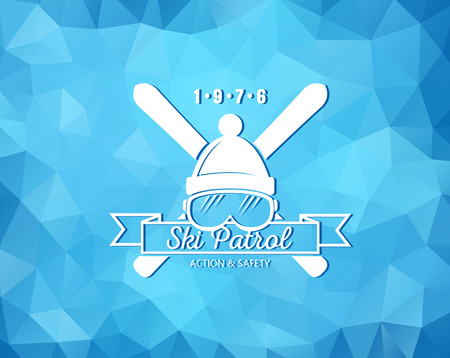 patrol: Vintage skiing resort or mountain patrol label, emblem with ski and ski mask on blue ice background Illustration