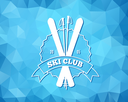 patrol: Vintage skiing resort or mountain patrol label, emblem with ski and ski poles on blue ice background