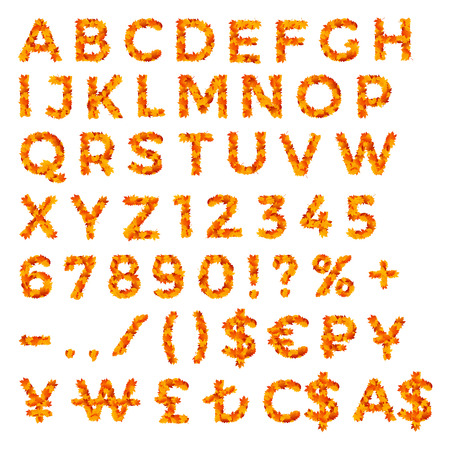 punctuation marks: Set of alphabet, numbers, punctuation marks and currency signs made of yellow and red autumn leaves for discounts, promo ads, posters and flyers