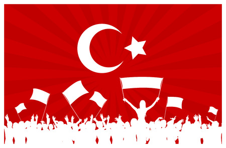 a group of people protesting: Turkey flag with cheering, celebrating or protesting crowd of people with flags and banners Illustration