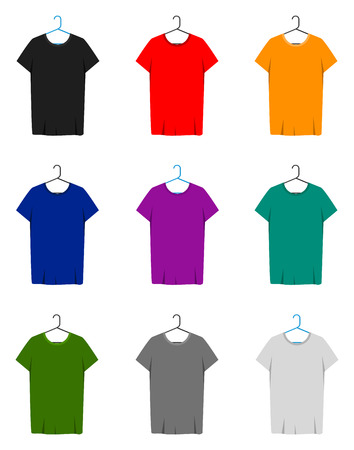 sleeve: Men short sleeve t-shirt template with t-shirts of different colors hanging on a hanger.