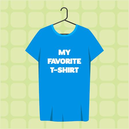 sleeve: Men short sleeve t-shirt template hanging on a hanger.