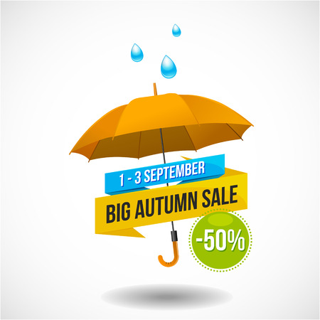 Big colorful autumn sale discount emblem or sticker design with umbrella and rain