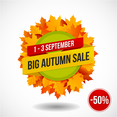 Big colorful autumn sale discount emblem or sticker design with lots of yellow, red and orange autumn leaves