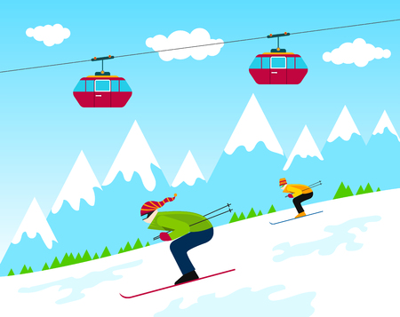 Winter time ski resort with people skiing and cableway with cabins and snow mountains and clouds
