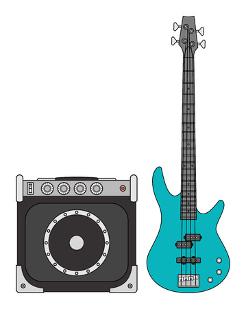 Rock electric bass guitar and amplifier for concerts and festivals in colors Illustration