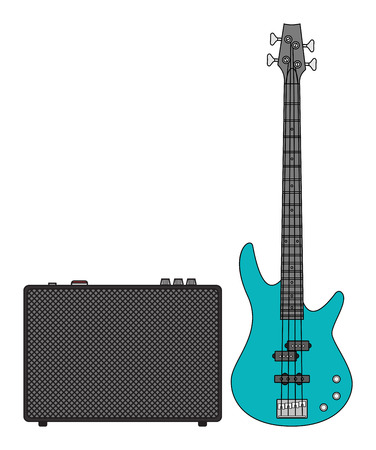 lead guitar: Rock electric bass guitar and amplifier for concerts and festivals in colors Illustration