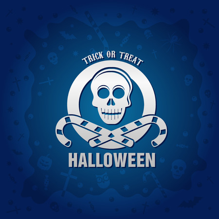 Beautiful Halloween background with golden skull and candies design and crosses, ghosts, zombies, coffins, bats and candies Illustration