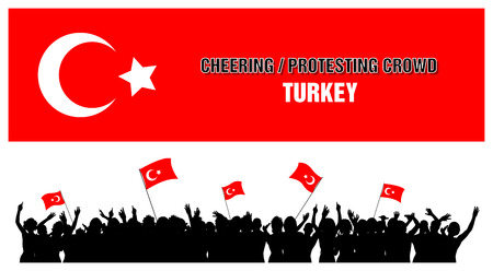 a group of people protesting: A set of 5 Turkey silhouettes of cheering or protesting crowd of people with Turkish flags and banners.