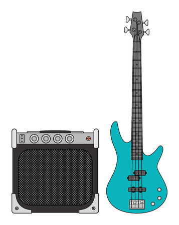 Rock electric bass guitar and amplifier for concerts and festivals in colors Stock Photo