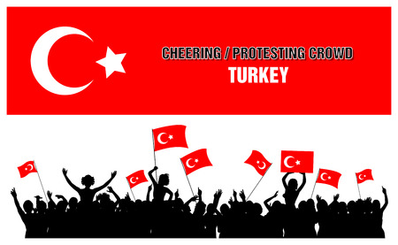 protesting: A set of 5 Turkey silhouettes of cheering or protesting crowd of people with Turkish flags and banners.