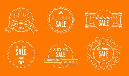 Set of vintage emblems for autumn sales with text and leaves Stock Photo
