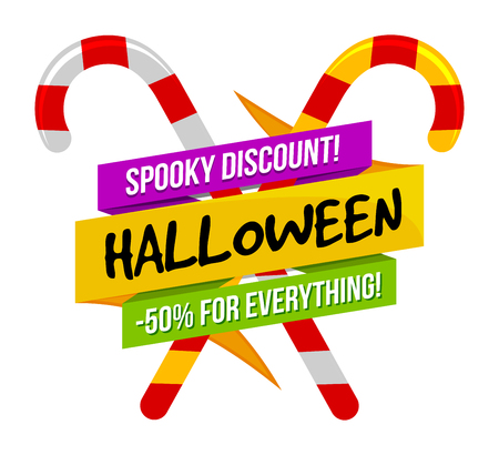 Halloween sale or special discount offer colorful design emblem with crossed candies isolated