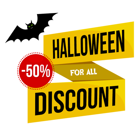 Halloween sale or special discount offer colorful design emblem with a flying black bat isolated