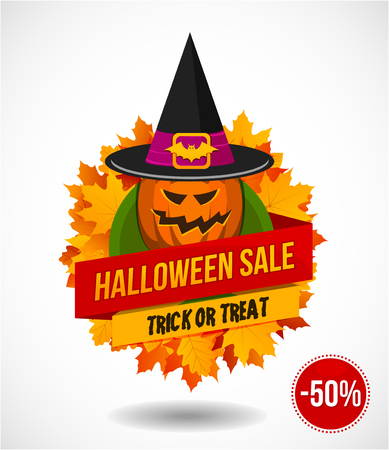 Halloween sale or special discount offer colorful design emblem with autumn leaves and pumpkin in witches hat isolated Illustration