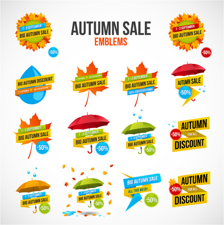 Big colorful autumn sale discount design and emblems with autumn leaves, umbrellas and rain drops isolated