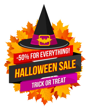 Halloween sale or special discount offer colorful emblem with autumn leaves and a witches hat isolated Illustration
