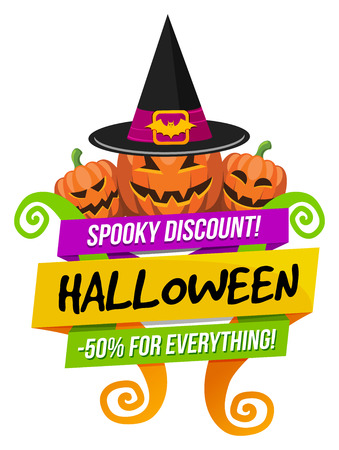 Halloween sale or special discount offer colorful emblem with pumpkins and witches hat isolated