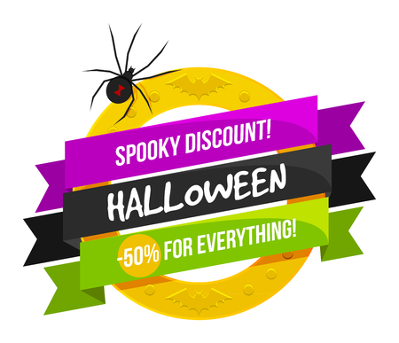 Halloween sale or special discount offer colorful design emblem with a spider and golden ring isolated