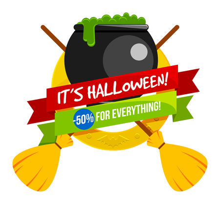 Halloween sale or special discount offer colorful design emblem with a caldron with poison and witches brooms isolated