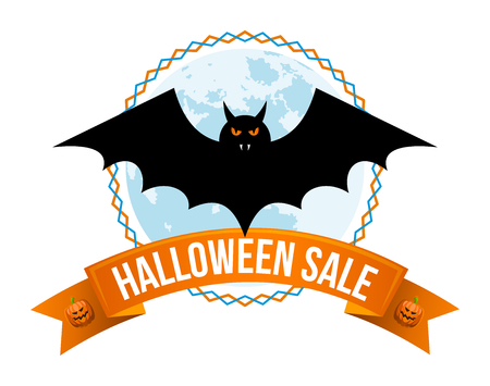 Halloween sale or special discount offer colorful emblem with bat, full moon and pumpkins isolated