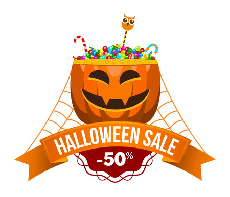 Halloween sale or special discount offer colorful design emblem with pumpkin with candies and spider web isolated