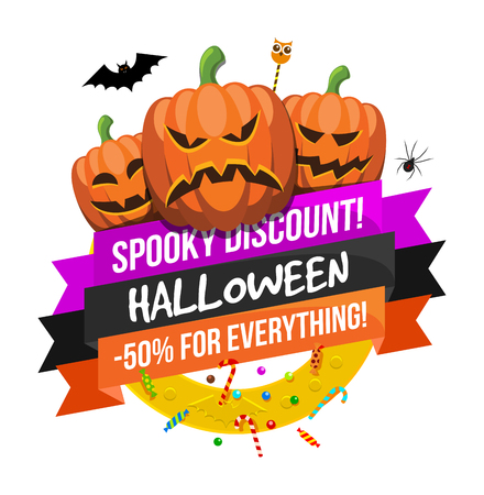 Halloween sale or special discount offer colorful design emblem with pumpkins, spider, bat and candies isolated
